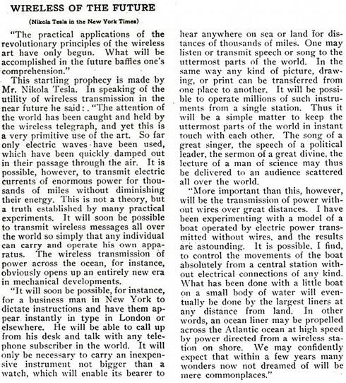 Nikola Tesla predijo la invención del teléfono móvil en 1909