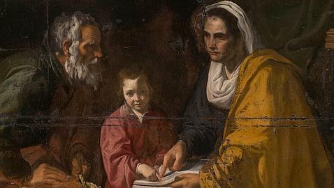 El óleo «La educación de la Virgen», supuestamente atribuido a Velázquez. ABC