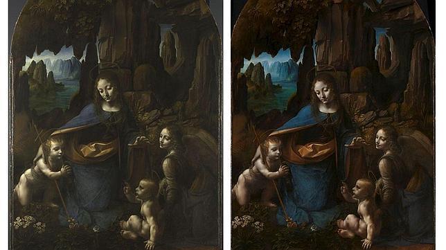 Fotografías del cuadro, antes y después de la restauración. EFE