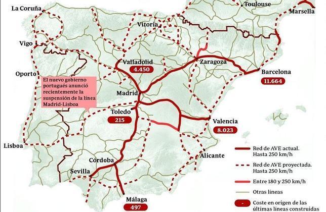 Mapa De Trenes España.Lineas De Tren Espana Mapa