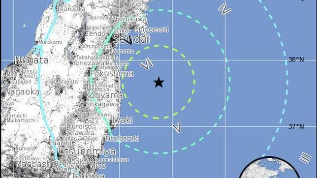 Un nuevo terremoto de 6,8 grados sacude las costas de Fukushima