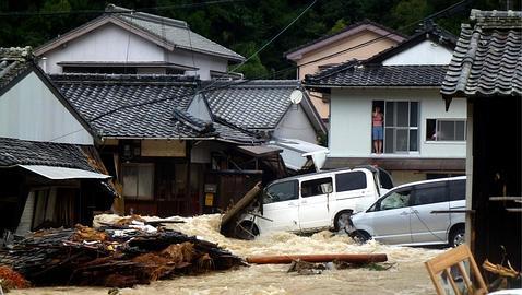 Inundaciones en la zona residencial de Nachikatsuura