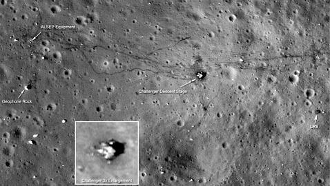 La ruta seguida por A. Shepard y E. Mitchell durante sus paseos en la misión Apolo 14