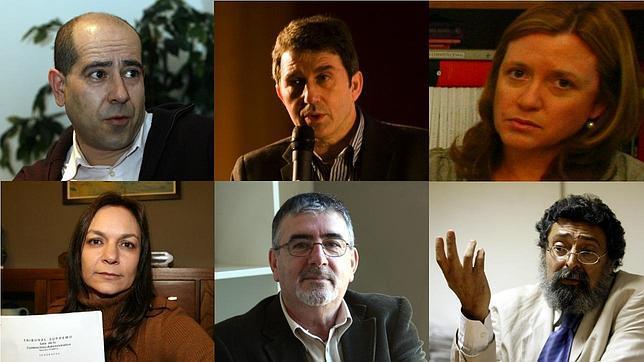 De izda. a dcha. y de arriba a abajo: Xurde Rocamundi, José Domingo, Marina Gala, Consuelo Santos, Enrique Abad y Francisco Caja