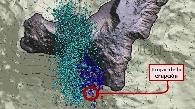 Erupción submarina en marcha a 7 kilómetros al sur de la isla de El Hierro