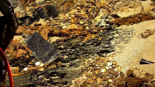 Parte de los cientos de miles de monedas de oro y plata halladas por Odyssey