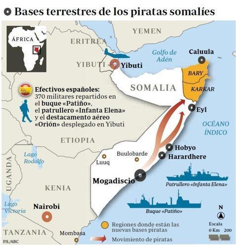 España planea atacar las bases terrestres de piratas en Somalia