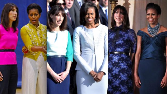 Michelle Obama y Samantha Cameron en un duelo de estilismos