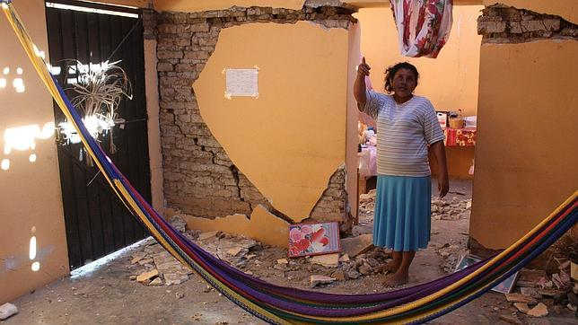 Daños en una vivienda de Ometepec, en el estado mexicano de Guerrero