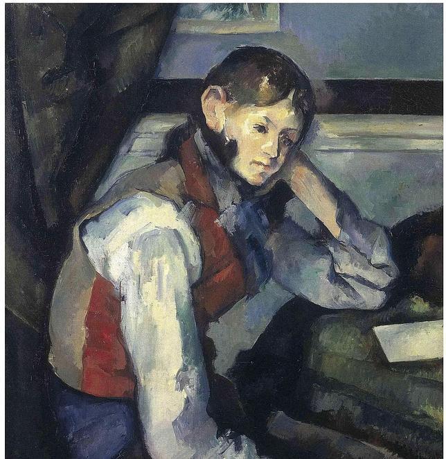 Imagen de archivo que muestra el cuadro «El niño del chaleco rojo», de Paul Cézanne. EFE