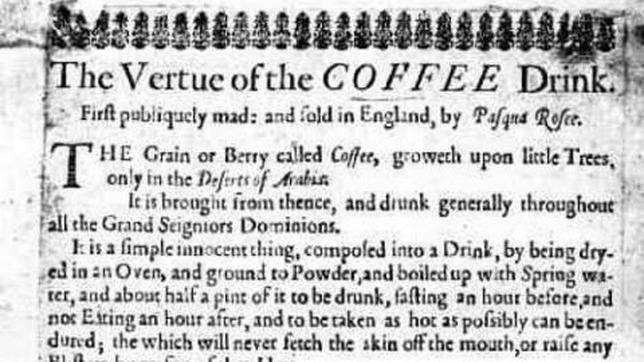 El café, «la invención amarga de Satanás» que se publicitaba ya en 1652