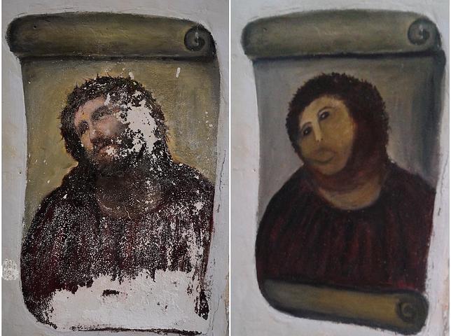 Una octogenaria se cuela en una iglesia y «restaura» un fresco