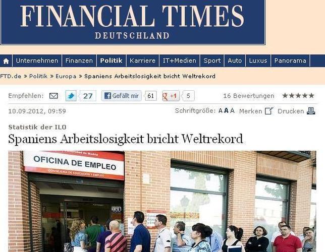 España bate el récord mundial de paro, según el Financial Times Deutschland