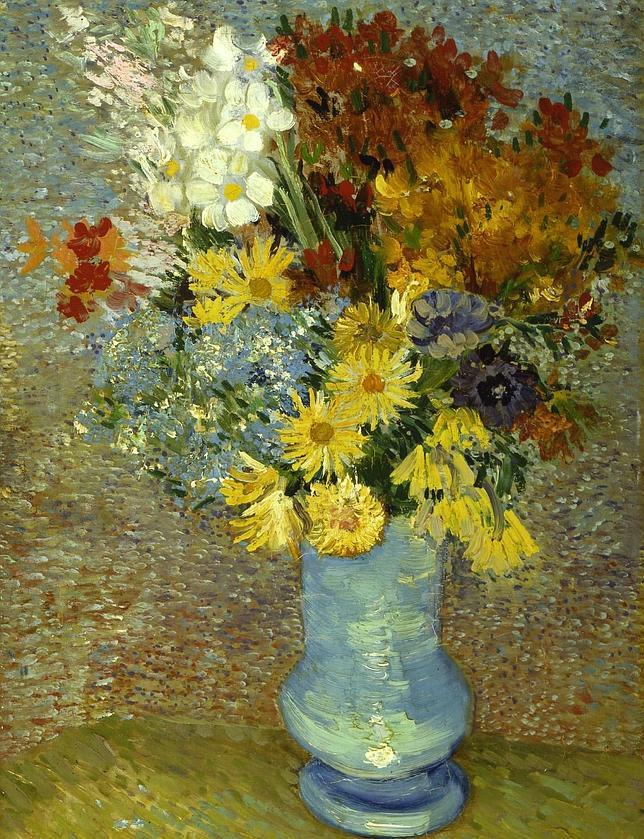 «Flores en un jarrón azul» (1887)