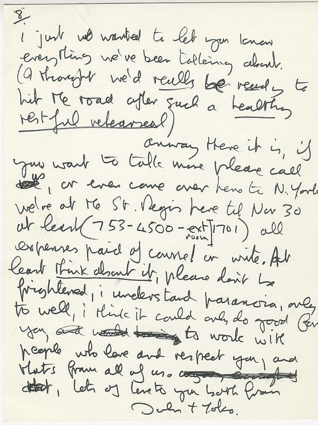 Sale a subasta una carta que John Lennon escribió a Eric Clapton