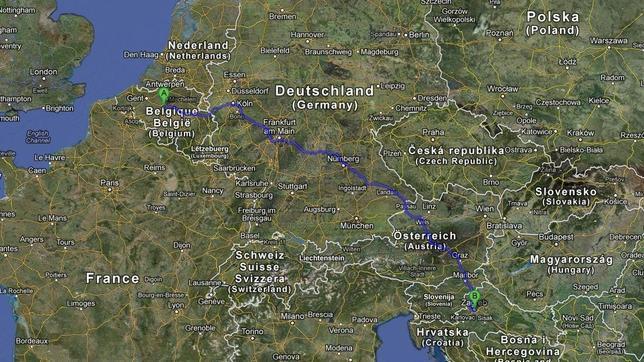 Sigue su GPS en dirección a Bruselas y aparece en Croacia