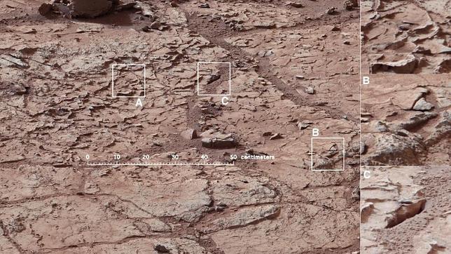 Imagen de la zona donde el Curiosity va a perforar la superficie de Marte por primera vez