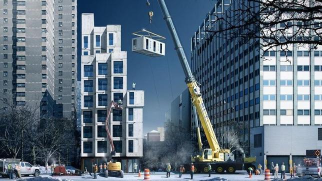 Recreación de la construcción de los nuevos apartamentos