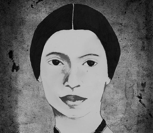 Ilustración de Emily Dickinson que figura en la cubierta de la Poesía Completa que publica Amargord