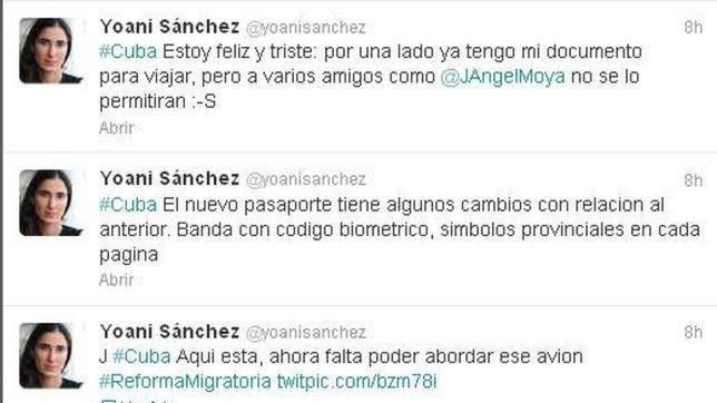 Cuba entrega un pasaporte a Yoani Sánchez y se lo niega a Ángel Moya