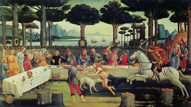 Uno de los tres paneles de Boticelli del Prado