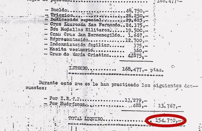la nómina de francisco franco 154 710 pesetas