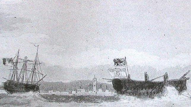 El «HMS Defense» llega a Londres con el «San Ildefonso» como presa. El emblema ondea bajo la Union Jack