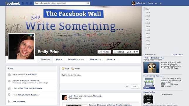 Así será el diseño de la nueva página de perfil de Facebook