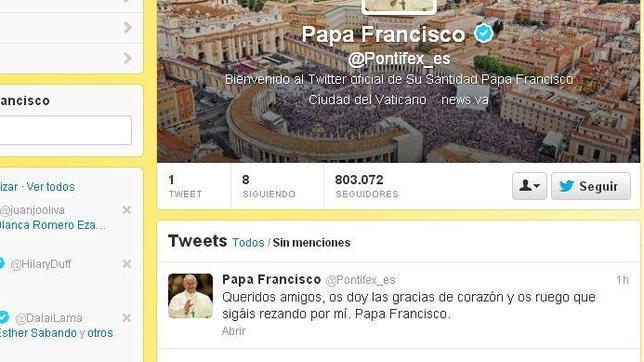 El Papa Francisco escribe su primer tuit