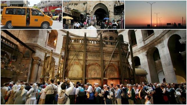Debajo, la basílica del Santo Sepulcro, en Jerusalén. Arriba, la puerta de Damasco