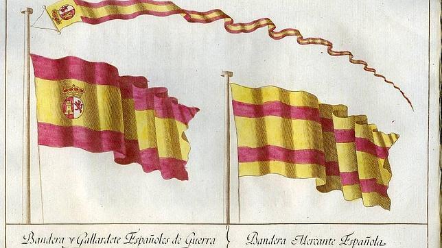 Banderas del buque de guerra y de los mercantes elegidas por Carlos III en 1785