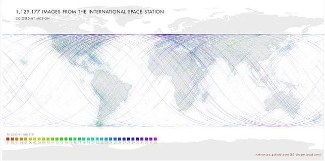 Un mapa con todas las fotos de la Tierra tomadas desde la estación espacial