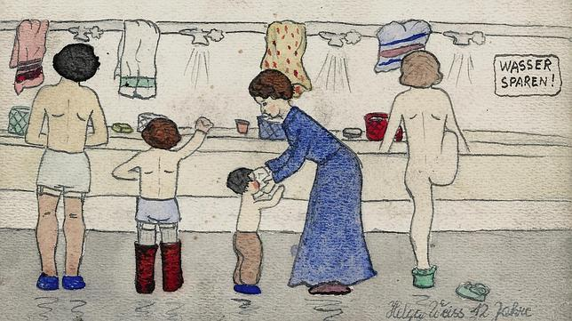 Dibujo de Helga Weiss, realizado en el campo de concentración de Terezin