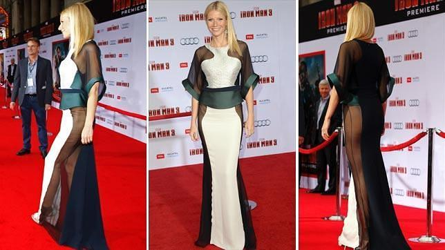 Gwyneth paltrow revoluciona la alfombra roja al aparecer for Ropa interior roja