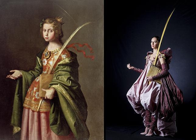 «Santa Isabel de Turingia», de Zurbarán, junto a un diseño de Victorio y Lucchino inspirado en ella