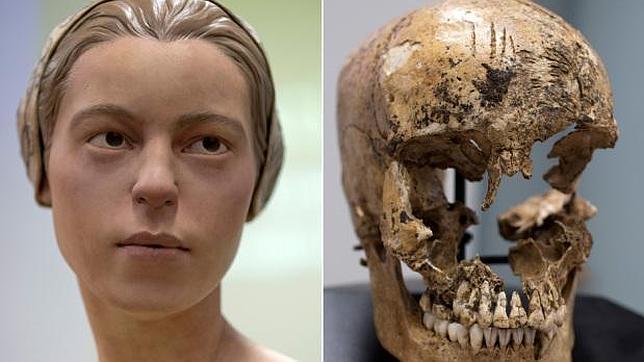 Reconstrucción de la cara de Jane y su cráneo mutilado, por donde le extrajeron el cerebro
