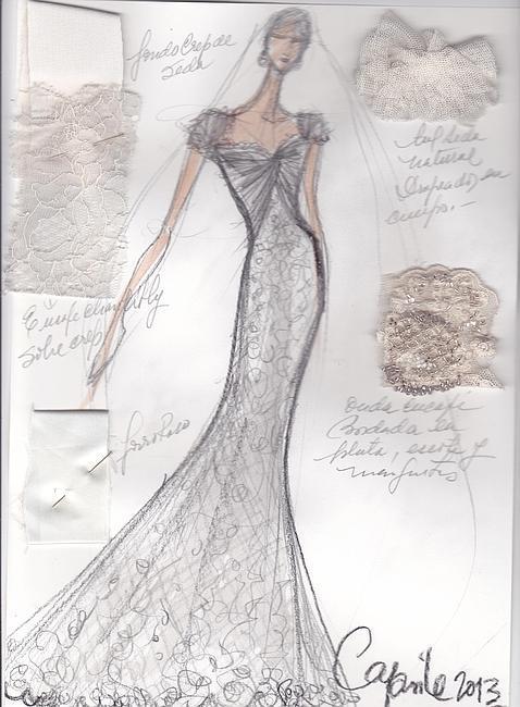Bocetos para vestidos de novia