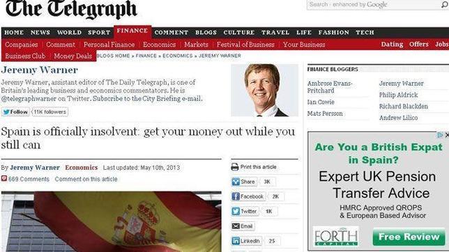 La embajada española califica el ataque del «Telegraph» como «irresponsable e interesado»