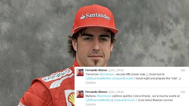 Alonso desea suerte a su exmujer en Eurovisión 2013