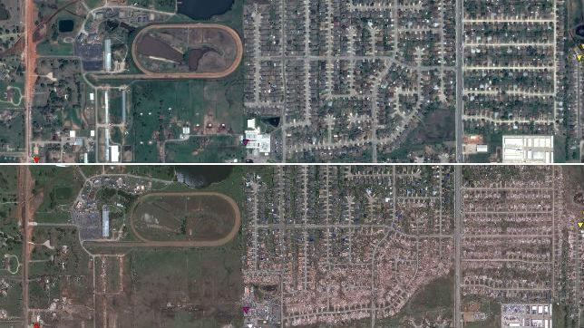 Google muestra las consecuencias del tornado de Oklahoma a vista de pájaro