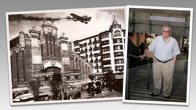 Fotografía del libro «Alicante: Tiempos de Guerra», junto a la imagen de Juan Ortiz