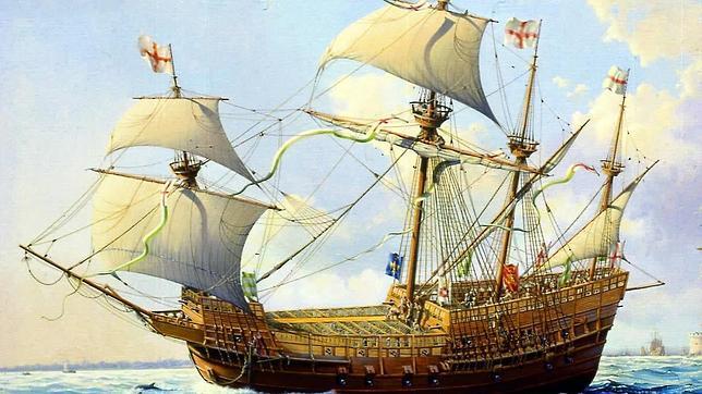 Dibujo del «Mary Rose», viento en popa