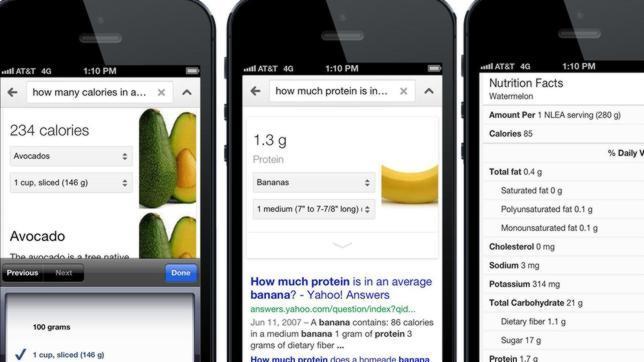 Google añade información nutricional en más de 1.000 alimentos de sus búsquedas