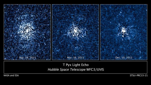 Las explosiones de una estrella nova, en un mapa 3D