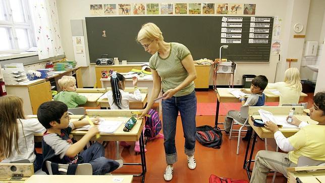 Alumnos finlandeses en clase