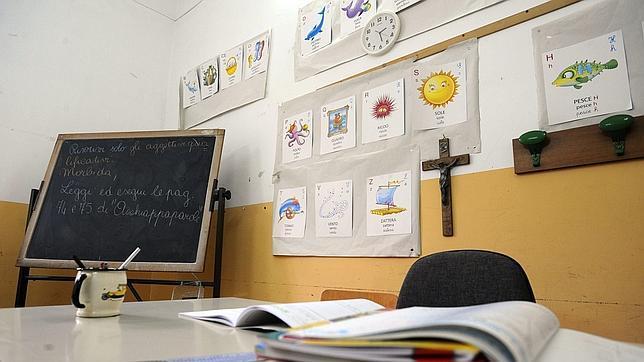 Un aula de una escuela de Nápoles, en Italia