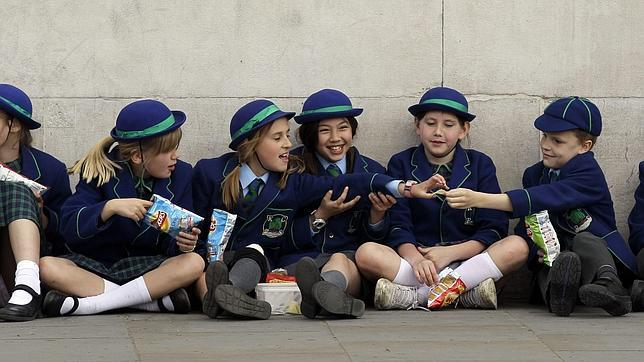 Un grupo de escolares británicos