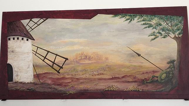 Imágen del cuadro pintado por Manuela Santiago Plaza que refleja a Don Quijote contemplando de fondo la ermita de Corral de Almaguer (Toledo)