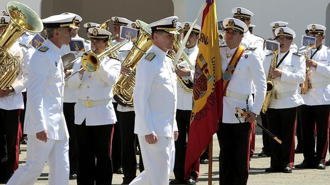 Ceremonia de clausura del cuartel general del Mando de las Fuerzas Aliadas, ayer en Retamares (Madrid)