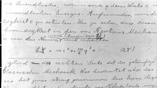 Manuscrito de Albert Einstein relativo a su Teoría de la Relatividad